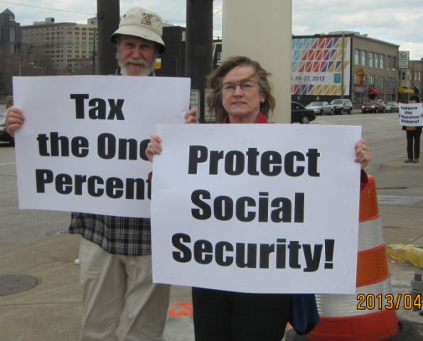 Demonstration and leafleting in downtown Cleveland, OH on April 15, 2013.