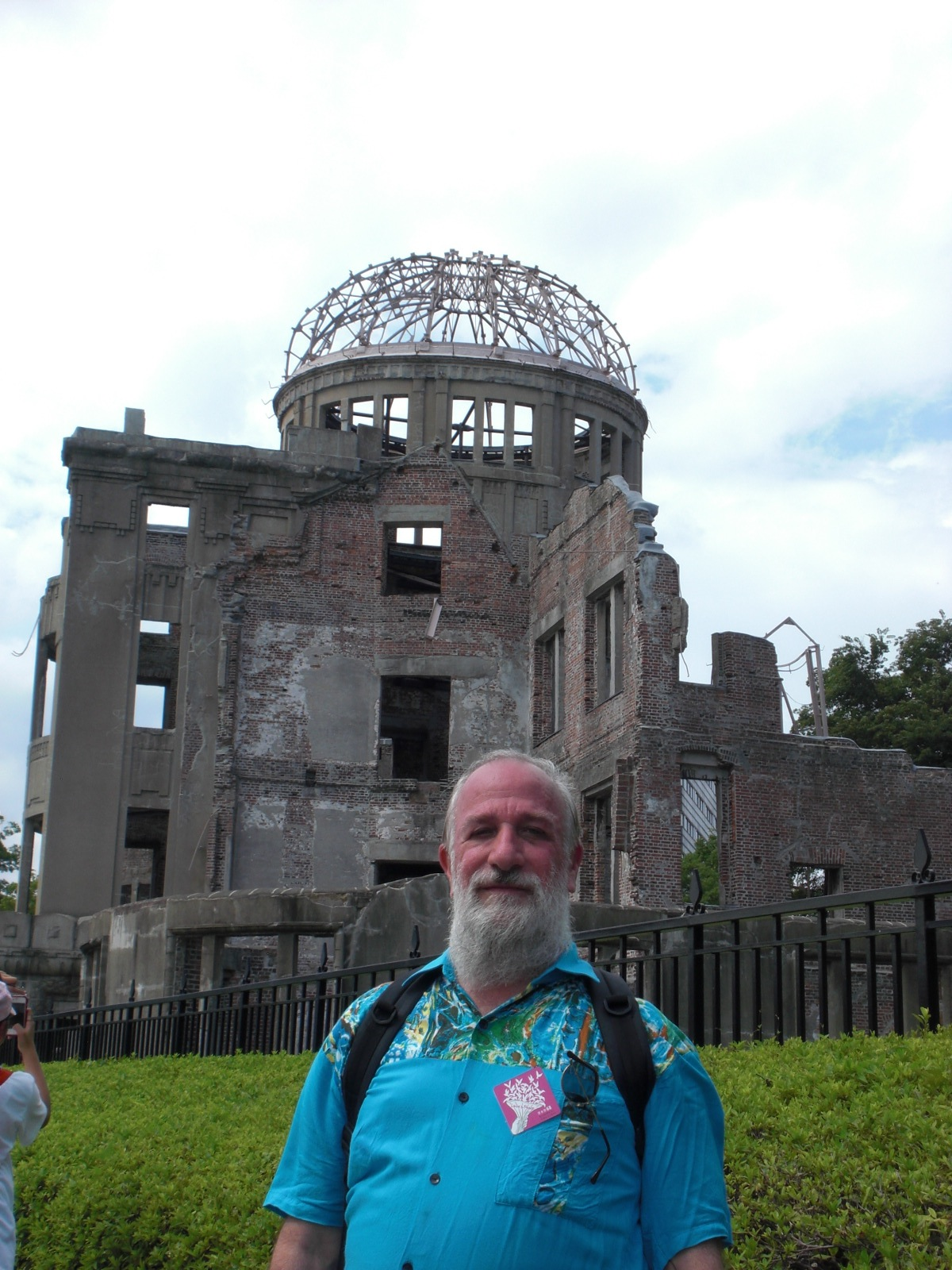 """Peace Action Development Director Peter Deccy at the """"A-Bomb Dome"""" in Hiroshima"""