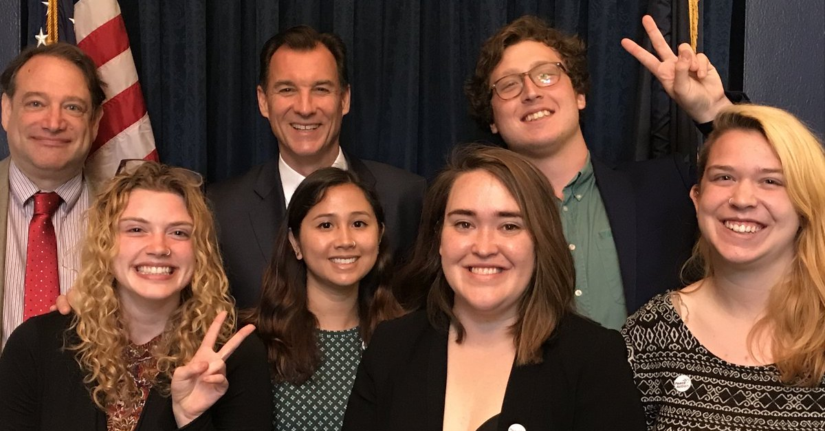 Student organizers from Peace Action New York State meeting with with Rep. Tom Suozzi (D-NY)